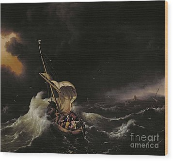 Christ In The Storm On The Sea Of Galilee Wood Print by Ludolph Backhuysen