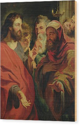 Christ Instructing Nicodemus Wood Print by Jacob Jordaens