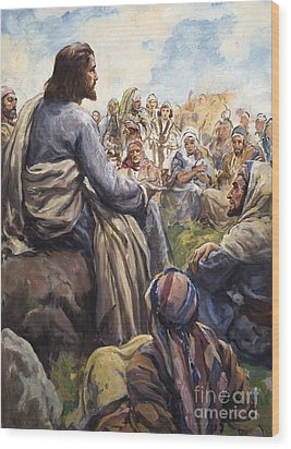 Christ Teaching Wood Print by English School