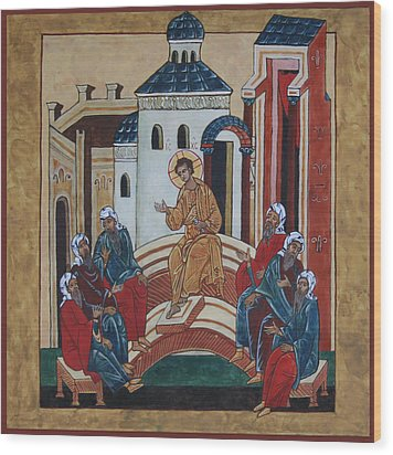 Christ Teaching In The Temple Wood Print by Phillip Schwartz