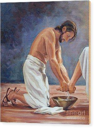 Christ The Servant Wood Print by Laura Bates