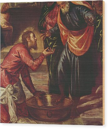 Christ Washing The Feet Of The Disciples Wood Print by Tintoretto