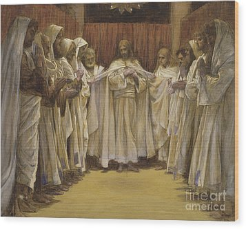 Christ With The Twelve Apostles Wood Print by Tissot