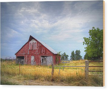 Christian School Road Barn Wood Print by Cricket Hackmann