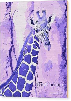 Christina's Giraffe Wood Print by Robert ONeil