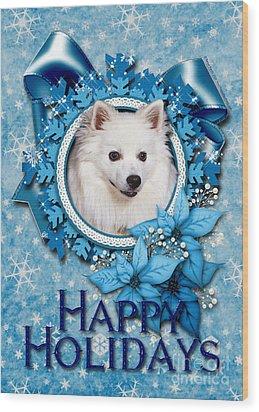 Christmas - Blue Snowflakes American Eskimo Wood Print by Renae Laughner