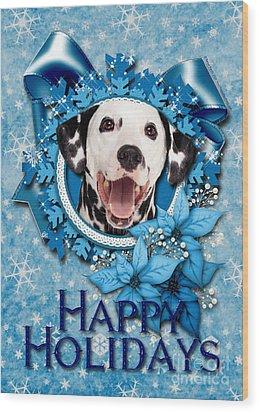 Christmas - Blue Snowflakes Dalmatian Wood Print by Renae Laughner