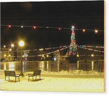 Christmas At The Anaconda Commons Wood Print