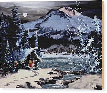 Christmas At The Lake V2 Wood Print