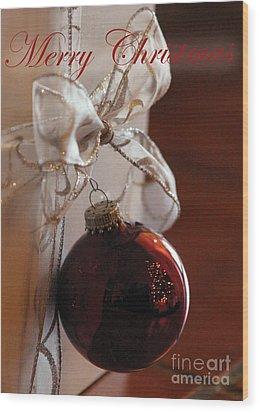 Christmas Ball And Bow Wood Print