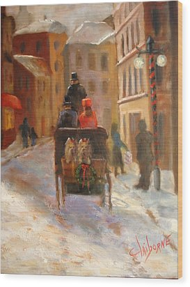 Christmas Buggy Ride  Wood Print by Claiborne Hemphill-Trinklein
