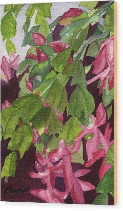 Wood Print featuring the painting Christmas Cactus by Lynne Reichhart