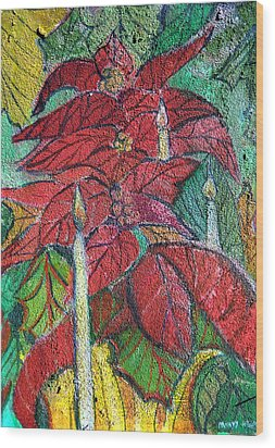 Christmas Candlelight Wood Print by Mindy Newman