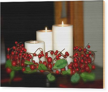 Christmas Candles Wood Print by Kathy Gibbons