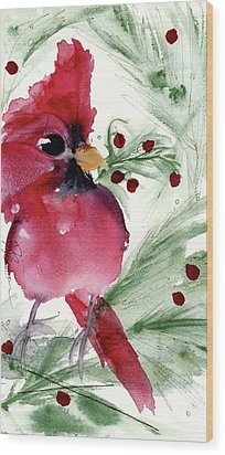Wood Print featuring the painting Christmas Cardinal by Dawn Derman