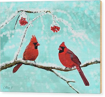 Wood Print featuring the painting Christmas Cardinals by Leslie Allen