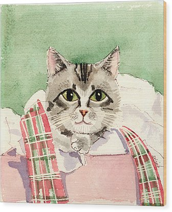 Christmas Cat Wood Print by Arline Wagner