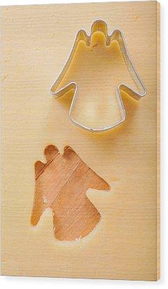 Christmas Cookie Angel Shape Wood Print by Matthias Hauser