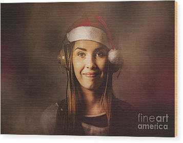 Wood Print featuring the photograph Christmas Disco Dj Woman by Jorgo Photography - Wall Art Gallery