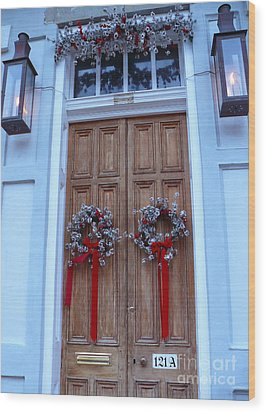 Christmas Door Wood Print