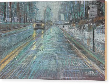 Christmas Drive Wood Print by Donald Maier