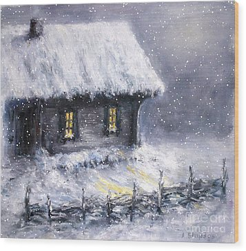 Wood Print featuring the painting Christmas Eve by Arturas Slapsys