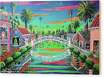 Christmas Eve On Retro Canal Wood Print by Frank Strasser