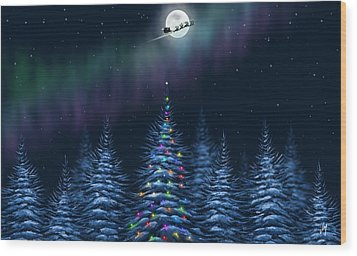 Wood Print featuring the painting Christmas Eve by Veronica Minozzi