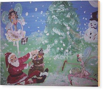 Christmas Fairies Wood Print by Judith Desrosiers