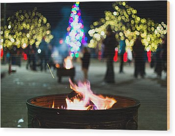 Christmas Fire Pit Wood Print