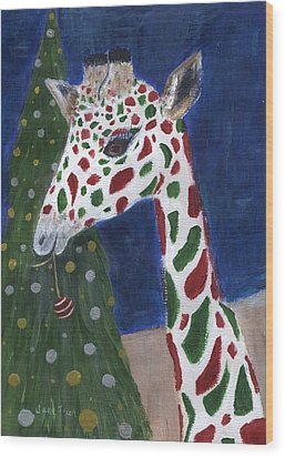 Wood Print featuring the painting Christmas Giraffe by Jamie Frier