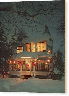 Christmas House Wood Print