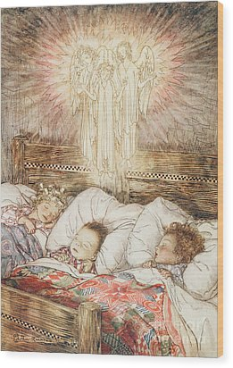 Christmas Illustrations From The Night Before Christmas Wood Print by Arthur Rackham