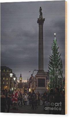Christmas In Trafalgar Square, London Wood Print