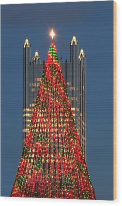 Wood Print featuring the photograph Christmas In Pittsburgh 2016  by Emmanuel Panagiotakis