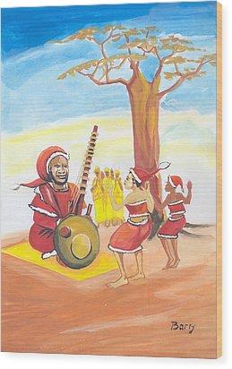 Wood Print featuring the painting Christmas In Senegal by Emmanuel Baliyanga