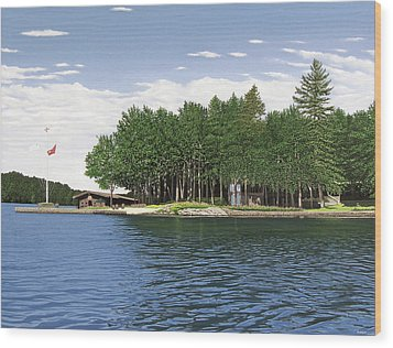 Wood Print featuring the painting Christmas Island Muskoka by Kenneth M Kirsch