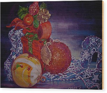 Wood Print featuring the painting Christmas by Julie Todd-Cundiff