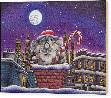 Christmas Koala In Chimney Wood Print by Remrov