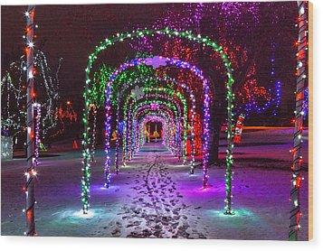 Christmas Light Arches Wood Print