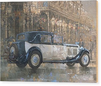 Christmas Lights And 8 Litre Bentley Wood Print by Peter Miller
