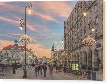 Christmas Lights In Warsaw Wood Print by Julis Simo