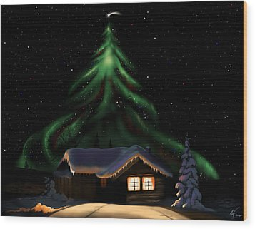 Christmas Lights Wood Print