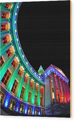 Christmas Lights Of Denver Civic Center Park Wood Print by Kevin Munro