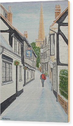 'christmas Mail', Ledbury, Herefordshire Wood Print by Peter Farrow