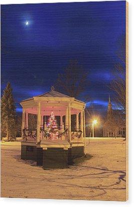 Christmas Moon Over Town Common Wood Print by John Burk
