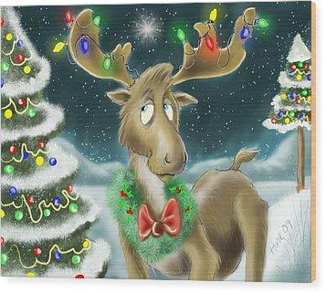 Christmas Moose Wood Print by Hank Nunes
