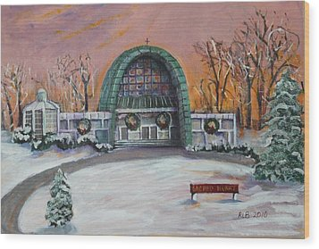 Wood Print featuring the painting Christmas Morning At Sacred Heart Church by Rita Brown