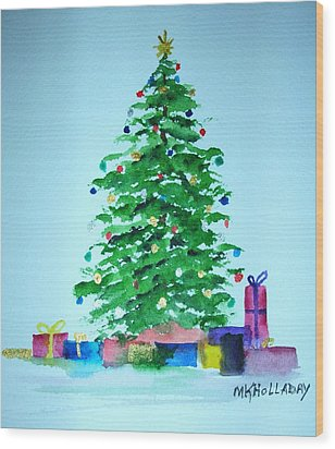 Christmas Morning Wood Print by Mary Kay Holladay