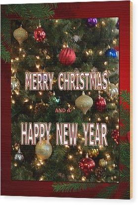 Christmas New Year Card Wood Print